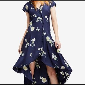 FREE PEOPLE Lost In You navy hi-low dress floral